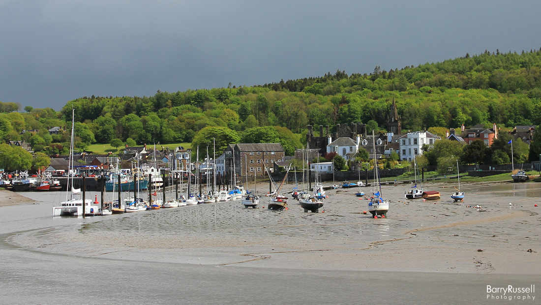 A view of Kirkcudbright Marina and Harbour from The Stell