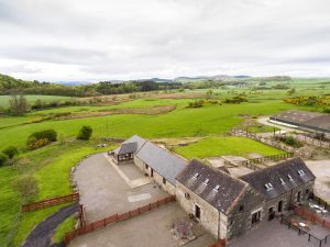 Aerial view of Clauchan Holiday Cottages near Kirkcudbright